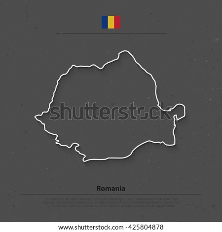 Romania map and official flag icons over grunge background. vector Romanian political map contour. European State geographic banner template. travel and business concept vector - stock vector