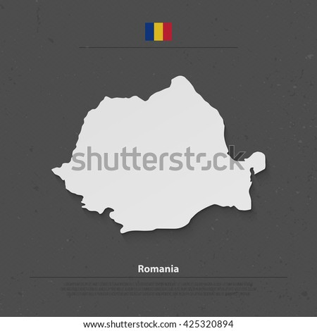 Romania map and official flag icons over grunge background. vector Romanian political map 3d illustration. European State geographic banner template. travel and business concept vector - stock vector