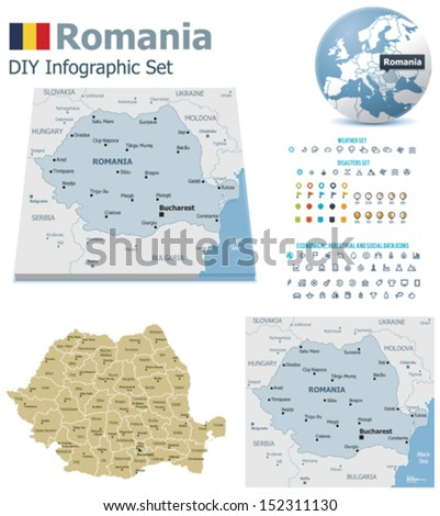 Romania maps with markers - stock vector