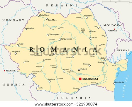 Romania Political Map With Capital Bucharest National Borders Important Cities Rivers And Lakes