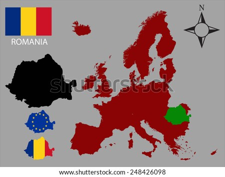 Romania - Three contours, Map of Europe and flag vector