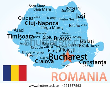Romania - vector map with largest cities. Carefully scaled text by city population, geographically correct.