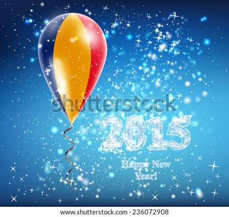 Romanian flag. Flag of the country in a balloon. The celebration and gifts. Balloon on Happy New Year. Merry Christmas. The sky sparkles with stars and snowflakes. Vector. Icon.  - stock vector