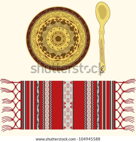 Romanian traditional and folkloric ornamented ceramic plate, wooden spoon and textile serviette - stock vector