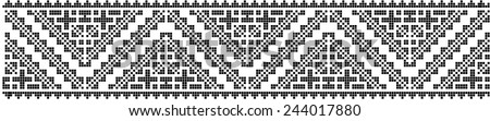 romanian traditional ethnic costume motif genuine pattern - stock vector