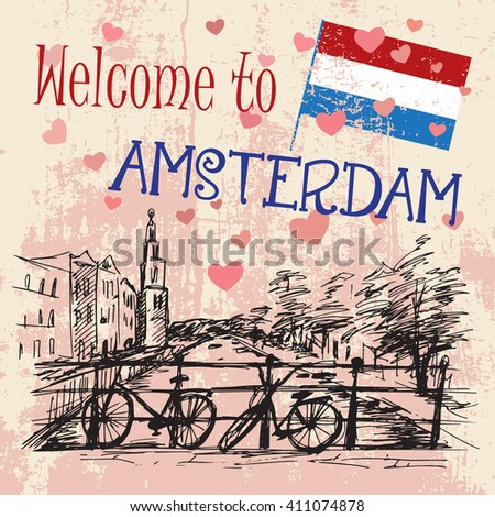 Romantic Amsterdam card with two bicycles  - Netherlands