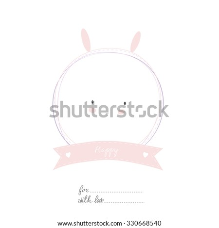 Romantic and love card, sticker, label, tag with Spring illustration. Template for scrapbook, wrapping, congratulations, invitations. Lovely vector wishes with cute animals and sweets