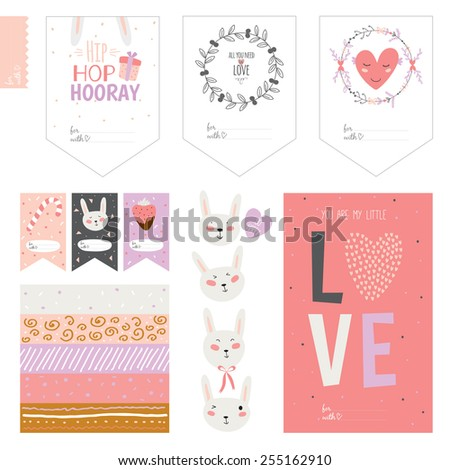 Romantic and love cards, notes, stickers, labels, tags with flowers illustrations. Template for scrapbooking, wrapping, congratulations, invitations. Lovely wishes for Easter in vector with cute bunny - stock vector