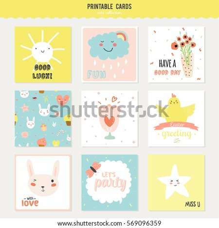 Romantic And Love Cards Notes Stickers Labels Tags With Spring Illustrations