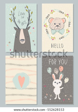 Romantic And Love Cards With Cute Animals In Vintage Style Hand Drawn Illustration