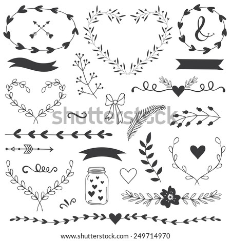 Romantic and love illustrations and typography for Happy Valentines Day. Template for wedding, mothers day, birthday, invitations. Hearts, flowers, ribbons, wreaths, laurels, jar. - stock vector