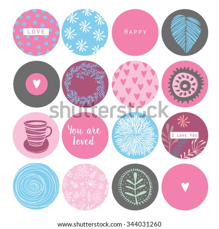 Romantic and love stickers and tags for Happy Valentines Day. Template for wedding, mothers day, birthday, invitations. Hearts, flowers, ribbons, wreaths, laurels, jar. - stock vector