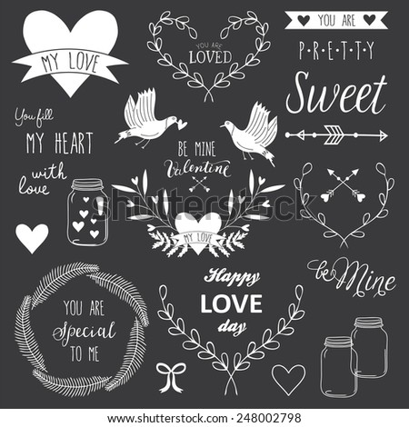 Romantic and love vintage illustrations and typography for Happy Valentines Day. Template for wedding, mothers day, birthday, invitations. Hearts, flowers, ribbons, wreaths, laurels, wishes, jars. - stock vector