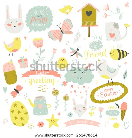 Romantic and lovely print illustration with Spring elements and cute background. Template for scrapbooking, wrapping, notebooks, diary, decals, school accessories - stock vector