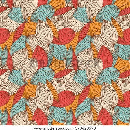 Romantic autumn floral seamless pattern. Beautiful endless linear background with leaves. Vintage leaves texture - stock vector