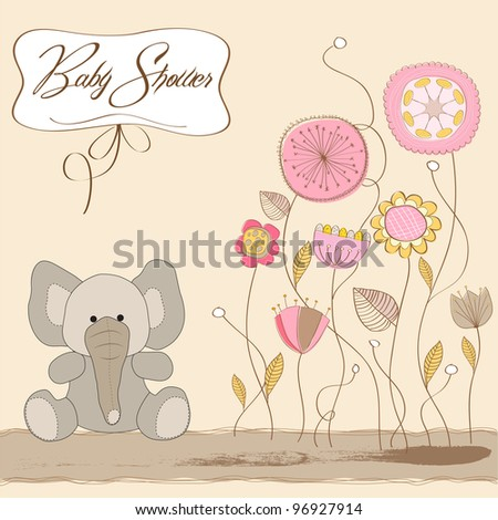 romantic baby announcement card - stock vector