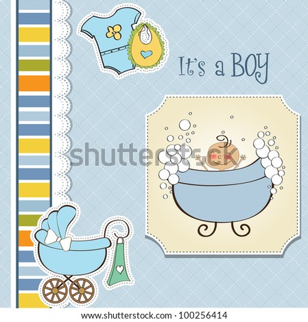 romantic baby boy shower card - stock vector
