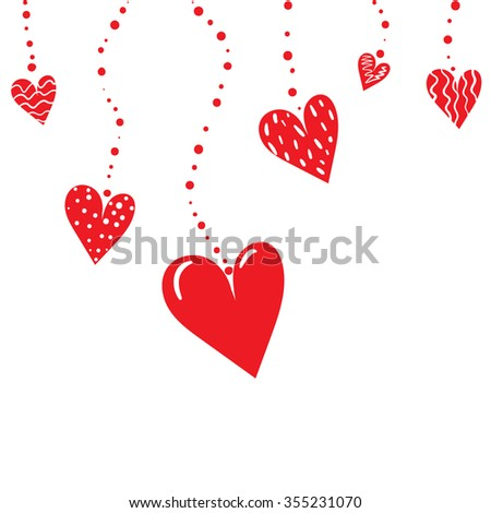 Romantic background with hanging red hearts. Vector illustration.