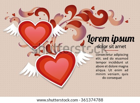 Romantic background with two red winged paper hearts. Vector template for a card, a flyer, an invitation and a banner on a buff (beige) background. - stock vector
