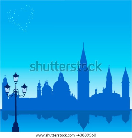 Romantic background with Venice silhouette