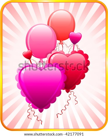 Romantic Balloons Valentines Day Pattern Stock Vector 42177091 ...