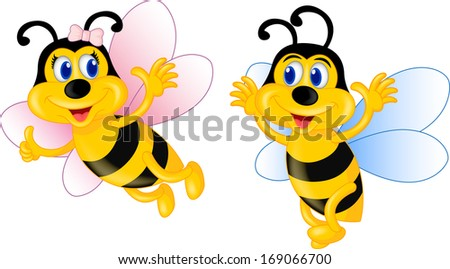 Romantic Bee Cartoon