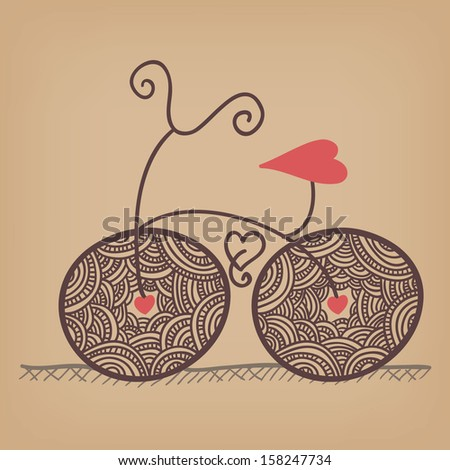 romantic bicycle ride with lacy wheels and heart shaped seat - stock vector