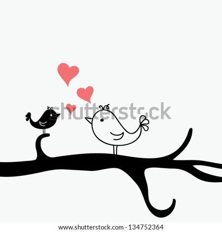 Romantic bird on silhouette tree singing hearts, valentine concept, vector illustration - stock vector