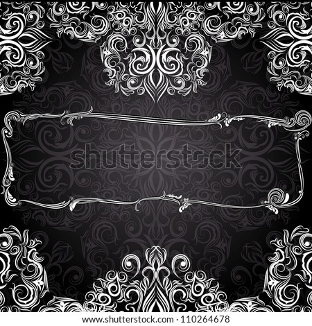 Romantic black and white vintage invitation with floral pattern and frame - stock vector