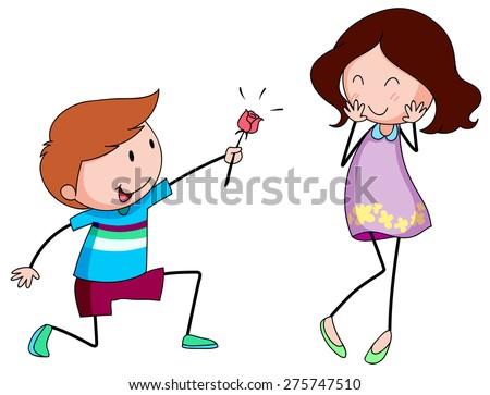 Romantic boy giving a rose to his girlfriend - stock vector