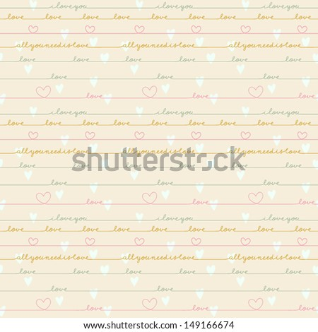 Romantic calligraphy wallpaper. Cute text background with love words and hearts. Love note. Wedding invitation card in vector.