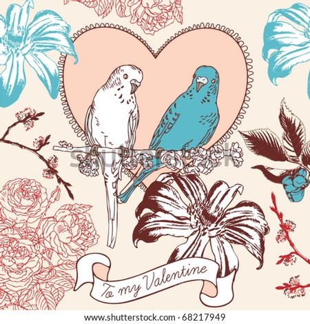 Romantic card with birds in love - stock vector