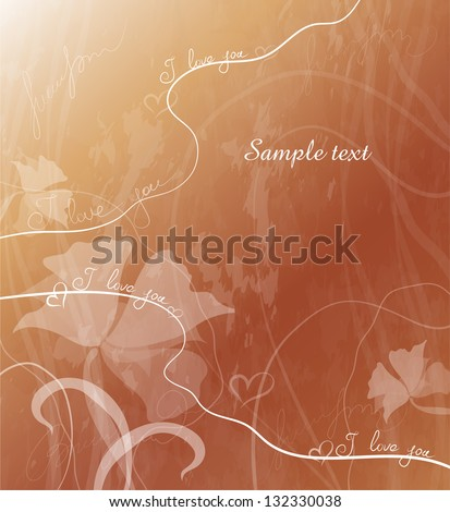 romantic card with flowers on golden background - stock vector