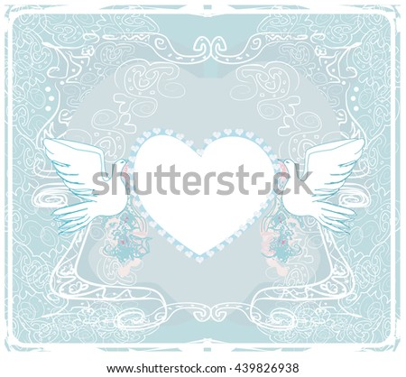 romantic card with love birds - Wedding Invitation - stock vector