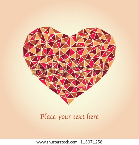 Romantic card with mosaic heart and place for your text. - stock vector