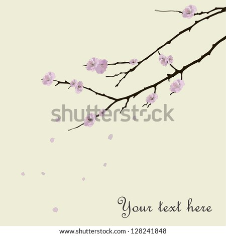 Romantic card with sakura branch. With love hieroglyph