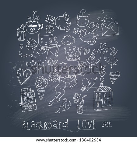 Romantic cartoon symbols on chalk board in EPS10 vector. Love concept with cupid, sweets, cat, birds and others - stock vector