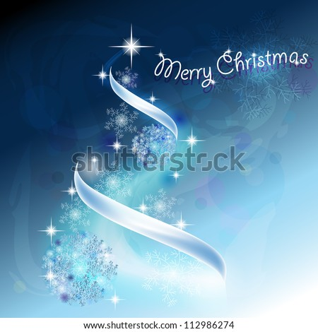 Romantic Christmas tree with snowflakes and ribbons in blue background - stock vector