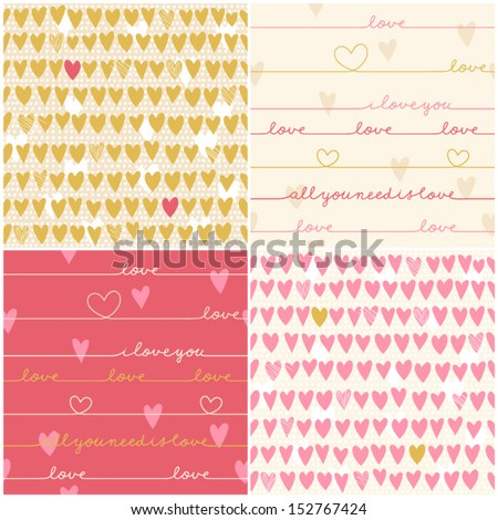 Romantic collection of cute patterns. Set of backgrounds with love words and hearts. Love note. Wedding invitation - stock vector