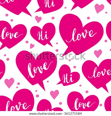 Romantic concept seamless pattern with speech bubbles  - stock vector