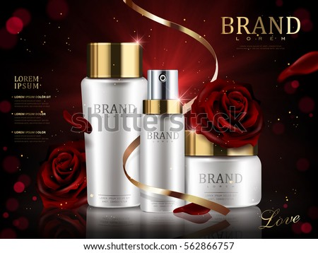 Romantic cosmetic set, beautiful red roses and golden ribbon isolated on dark red bokeh background in 3d illustration