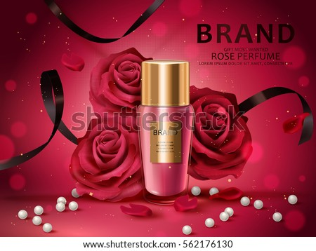 Romantic cosmetic set, rose perfume with red roses, white pearl and black ribbons isolated on red background in 3d illustration