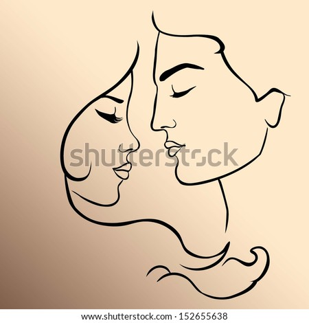 Romantic couple. Adam and Eve - stock vector