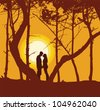 Romantic couple at sunset - stock vector