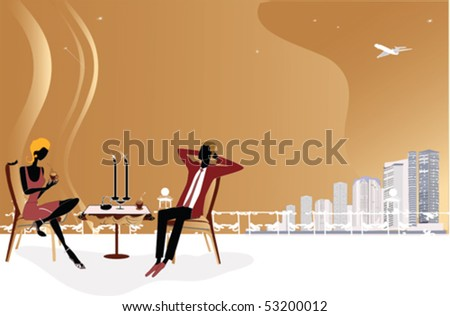 Romantic couple at the roof - stock vector
