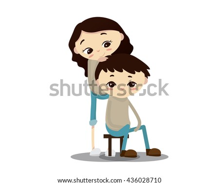 Romantic Couple Illustration - Thinking Of You - stock vector