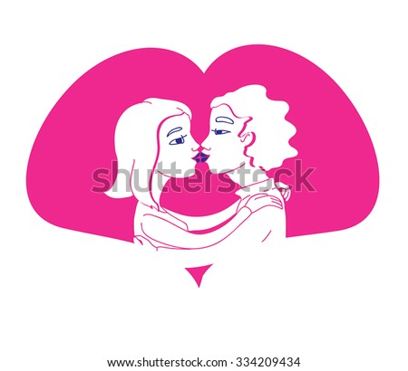 Romantic couple in love kissing - vector illustration. Cartoon young man and girl kissing. Young Love couple cartoon illustration. Romeo and Juliet. Date concept. Love sign. - stock vector