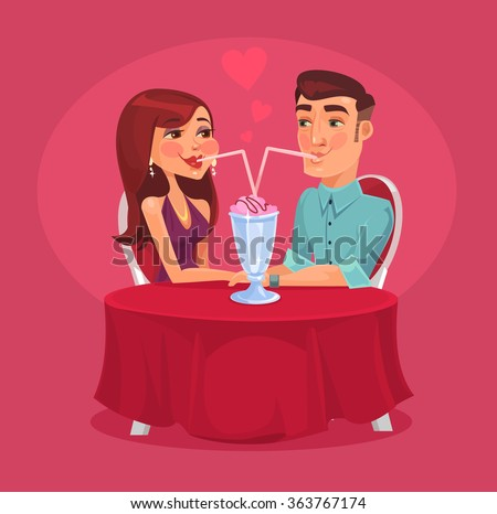 Romantic couple in the cafe. Vector flat illustration - stock vector