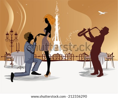 Romantic couple in the Paris cafe with a view of the Eiffel Tower and a musician  - stock vector