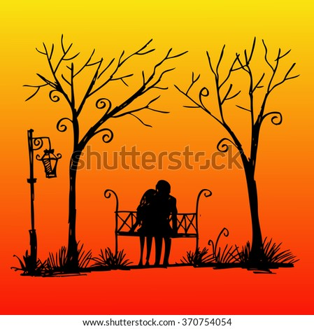 Romantic Couple on a Bench. Hand drawing illustration.